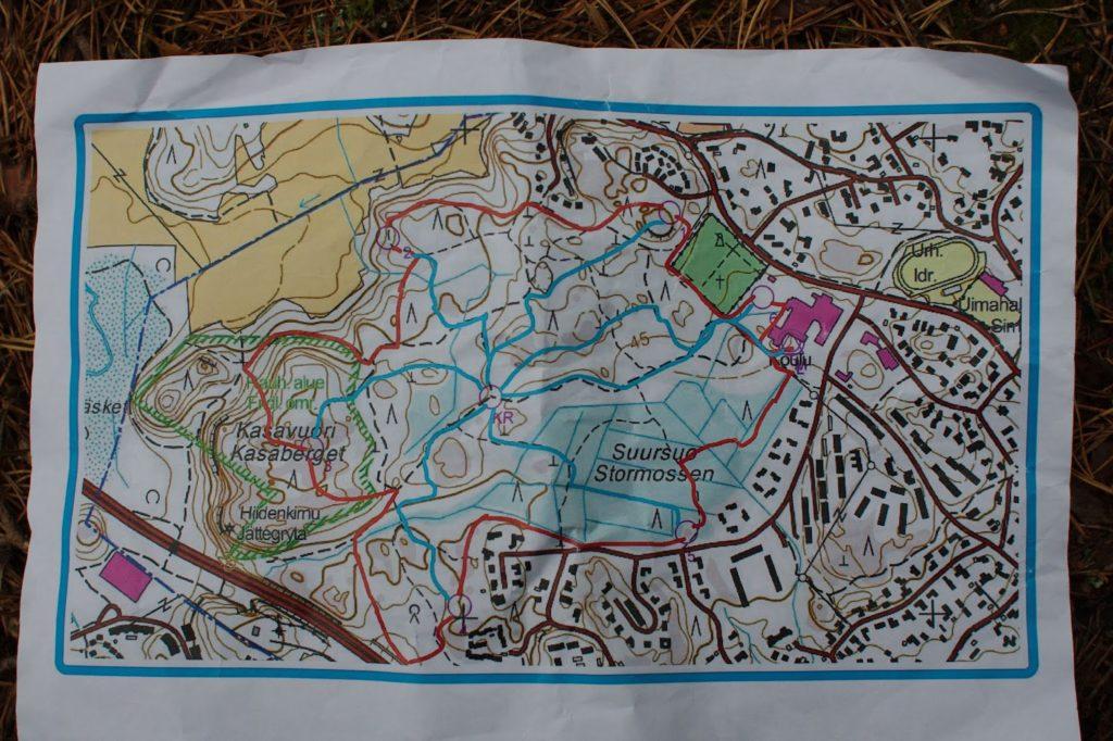 Kartta Kasavuoressa järjestetystä Pinkki -partiotaitokilpailusta