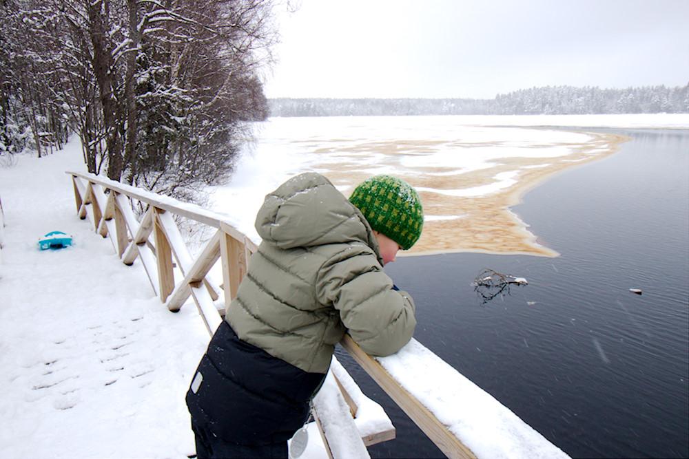 Lapsi Kyynäränharjun sillalla